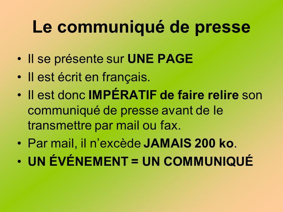 Le communiqué de presse Il se présente sur UNE PAGE Il est écrit en français.