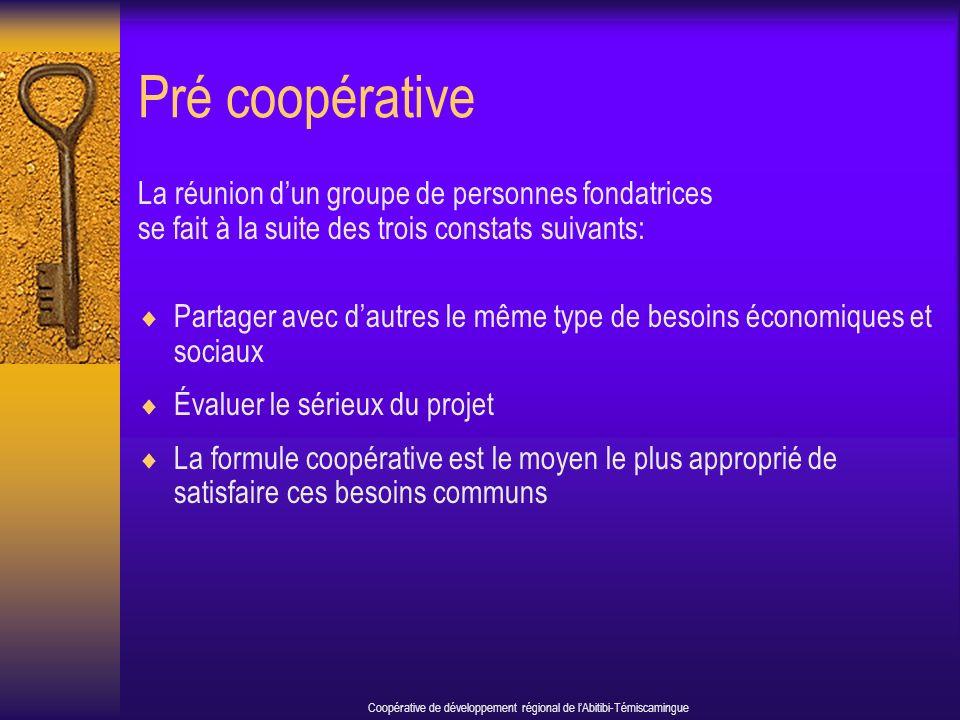 Pré coopérative La réunion dun groupe de personnes fondatrices se fait à la suite des trois constats suivants: Partager avec dautres le même type de besoins économiques et sociaux Évaluer le sérieux du projet La formule coopérative est le moyen le plus approprié de satisfaire ces besoins communs Coopérative de développement régional de lAbitibi-Témiscamingue