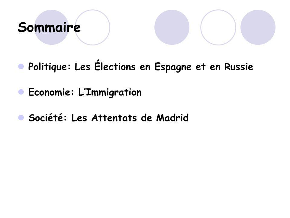 Sommaire Politique: Les Élections en Espagne et en Russie Economie: LImmigration Société: Les Attentats de Madrid