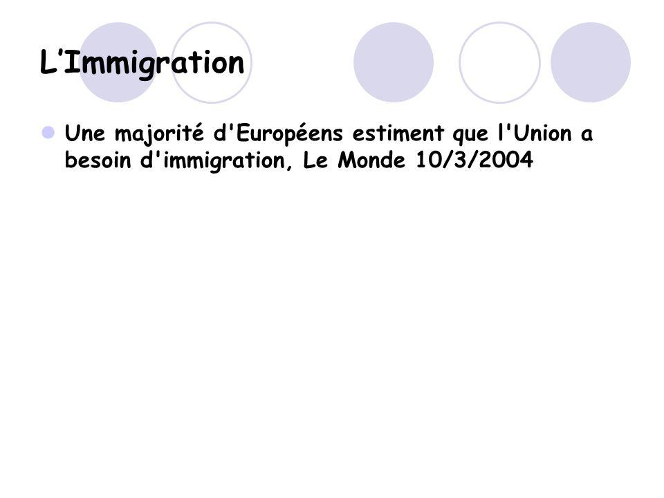 LImmigration Une majorité d Européens estiment que l Union a besoin d immigration, Le Monde 10/3/2004