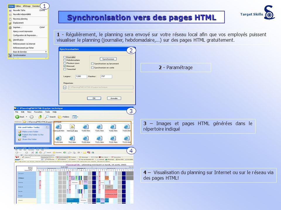 Synchronisation vers des pages HTML 1 - 1 - Régulièrement, le planning sera envoyé sur votre réseau local afin que vos employés puissent visualiser le