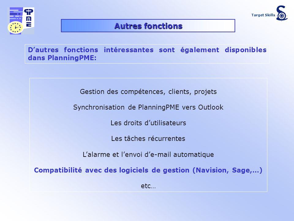Autres fonctions Gestion des compétences, clients, projets Synchronisation de PlanningPME vers Outlook Les droits dutilisateurs Les tâches récurrentes
