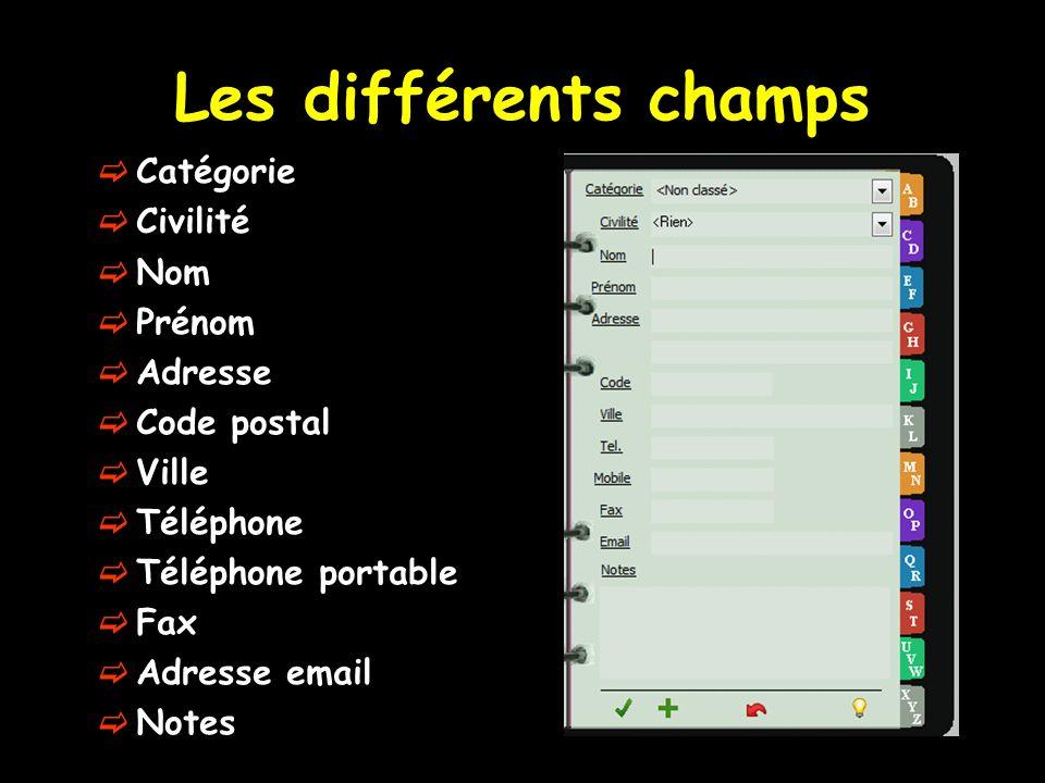 Les différents champs Catégorie Civilité Nom Prénom Adresse Code postal Ville Téléphone Téléphone portable Fax Adresse email Notes