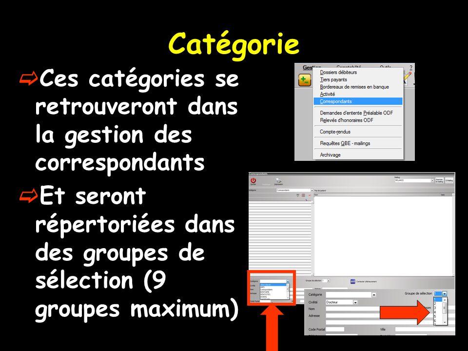 Catégorie Ces catégories se retrouveront dans la gestion des correspondants Et seront répertoriées dans des groupes de sélection (9 groupes maximum)