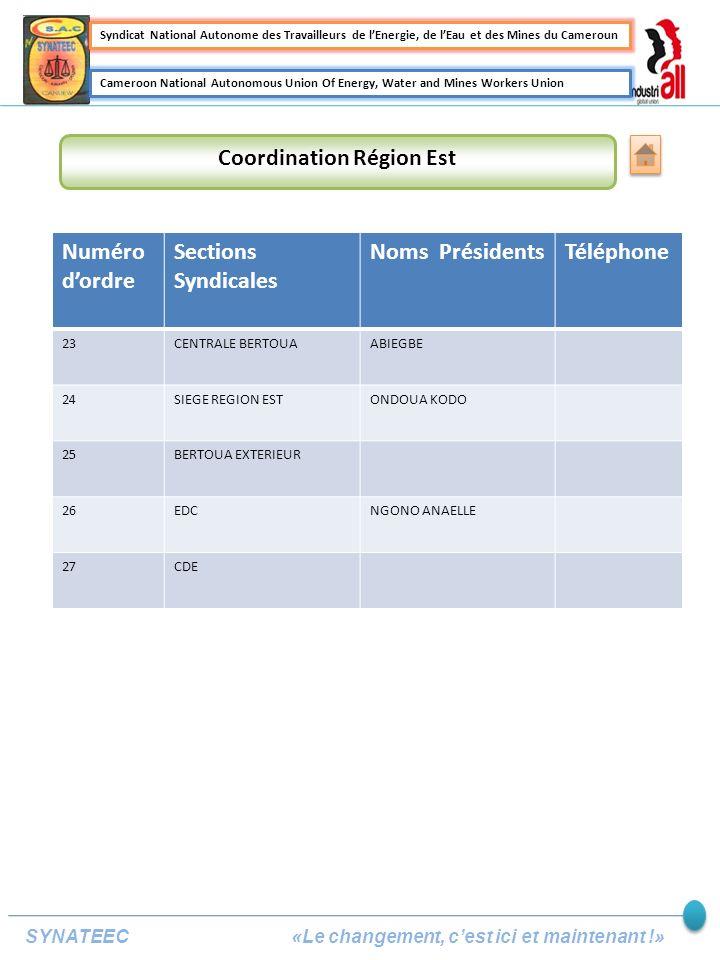 Coordination Région Est Numéro dordre Sections Syndicales Noms PrésidentsTéléphone 23CENTRALE BERTOUAABIEGBE 24SIEGE REGION ESTONDOUA KODO 25BERTOUA EXTERIEUR 26EDCNGONO ANAELLE 27CDE Syndicat National Autonome des Travailleurs de lEnergie, de lEau et des Mines du Cameroun Cameroon National Autonomous Union Of Energy, Water and Mines Workers Union SYNATEEC «Le changement, cest ici et maintenant !»