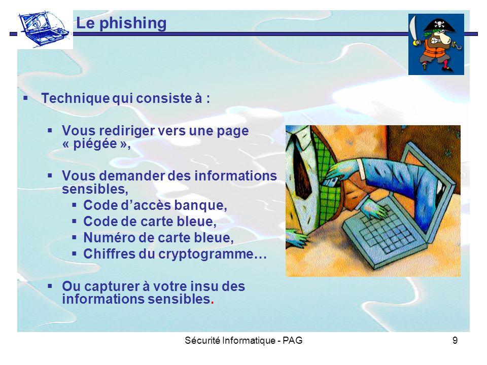 Sécurité Informatique - PAG9 Le phishing Technique qui consiste à : Vous rediriger vers une page « piégée », Vous demander des informations sensibles,