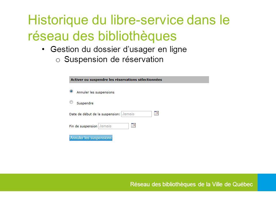 Historique du libre-service dans le réseau des bibliothèques Gestion du dossier dusager en ligne o Suspension de réservation