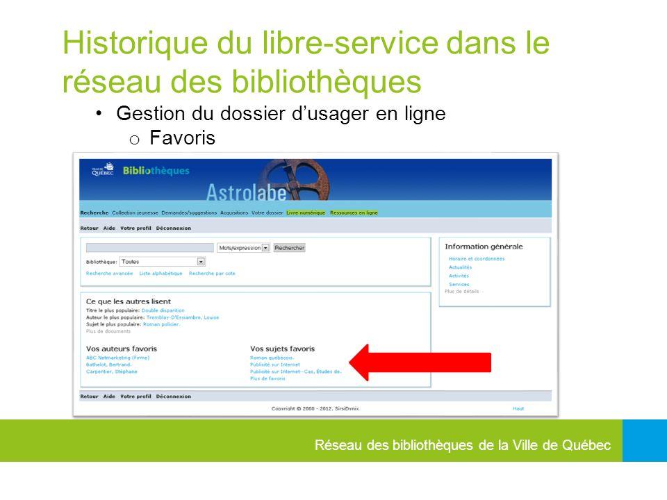 Réseau des bibliothèques de la Ville de Québec Historique du libre-service dans le réseau des bibliothèques Gestion du dossier dusager en ligne o Favoris