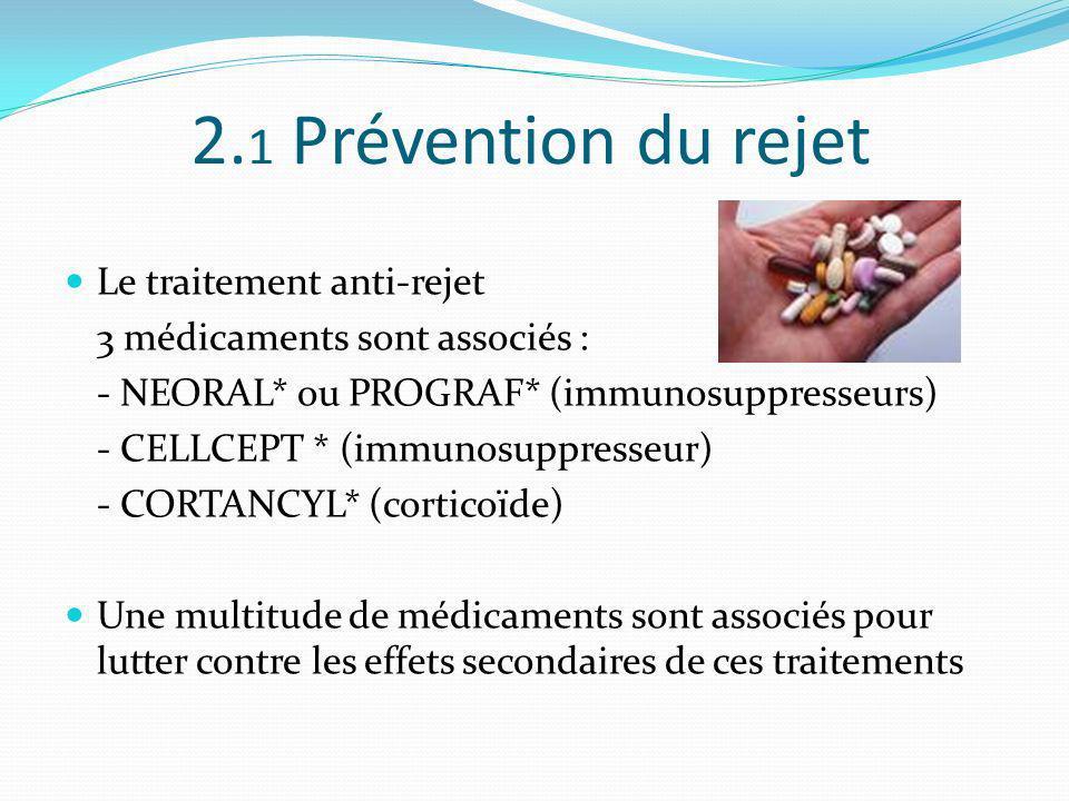 2. 1 Prévention du rejet Le traitement anti-rejet 3 médicaments sont associés : - NEORAL* ou PROGRAF* (immunosuppresseurs) - CELLCEPT * (immunosuppres