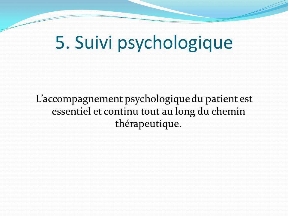 5. Suivi psychologique Laccompagnement psychologique du patient est essentiel et continu tout au long du chemin thérapeutique.