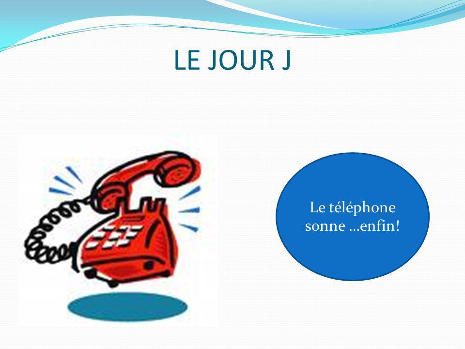 LE JOUR J Le Téléphone sonne…enf in! Le téléphone sonne …enfin!