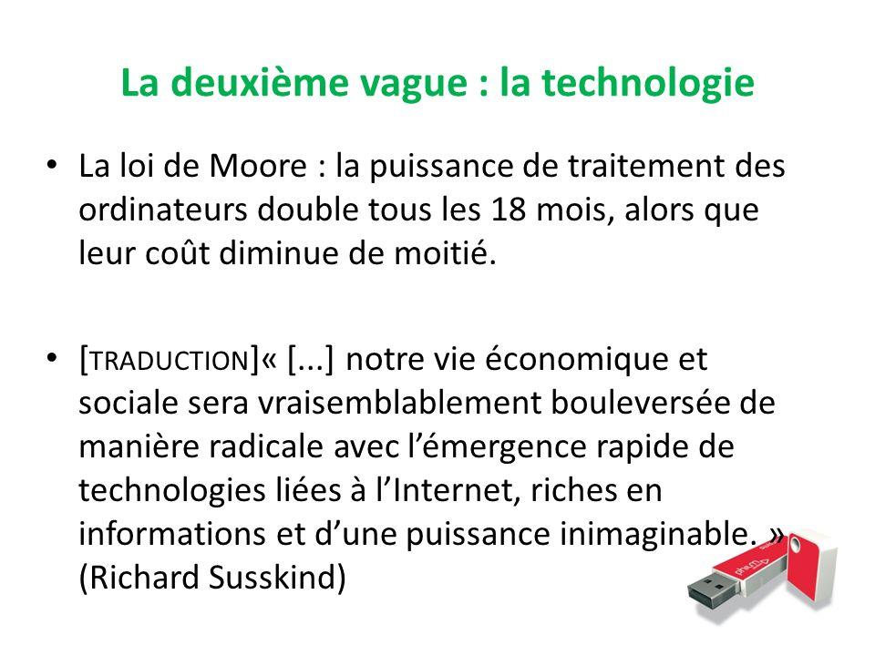 La deuxième vague : la technologie La loi de Moore : la puissance de traitement des ordinateurs double tous les 18 mois, alors que leur coût diminue d