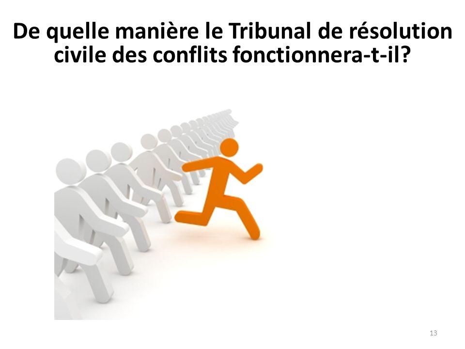 De quelle manière le Tribunal de résolution civile des conflits fonctionnera-t-il? 13