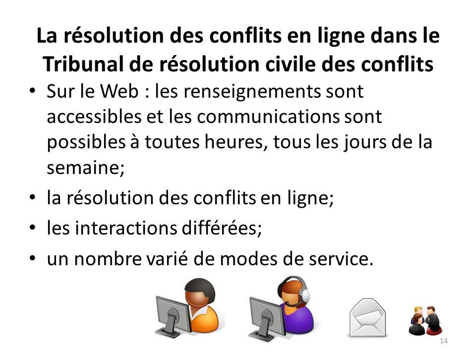 La résolution des conflits en ligne dans le Tribunal de résolution civile des conflits Sur le Web : les renseignements sont accessibles et les communi