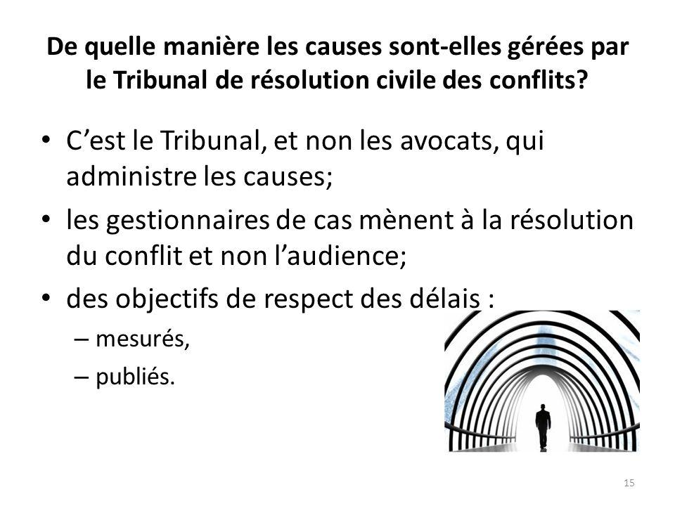De quelle manière les causes sont-elles gérées par le Tribunal de résolution civile des conflits? Cest le Tribunal, et non les avocats, qui administre