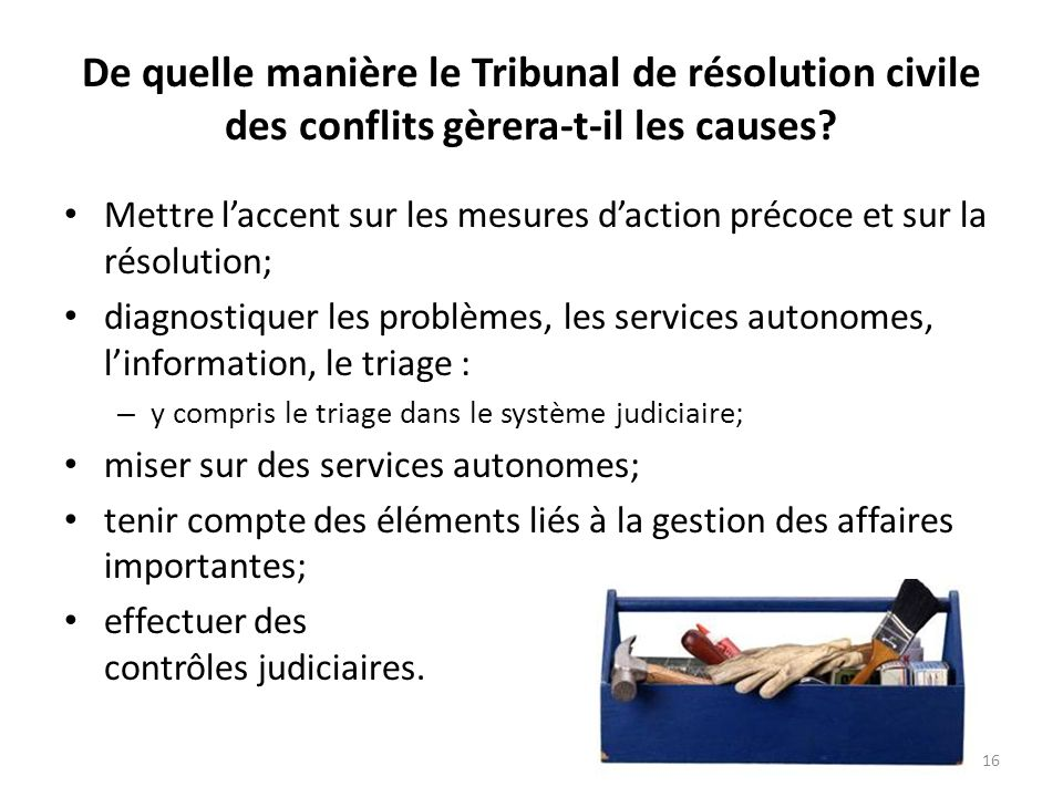 De quelle manière le Tribunal de résolution civile des conflits gèrera-t-il les causes? Mettre laccent sur les mesures daction précoce et sur la résol