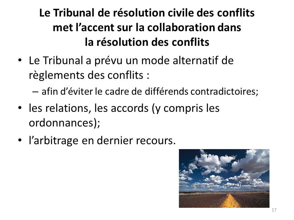 Le Tribunal de résolution civile des conflits met laccent sur la collaboration dans la résolution des conflits Le Tribunal a prévu un mode alternatif