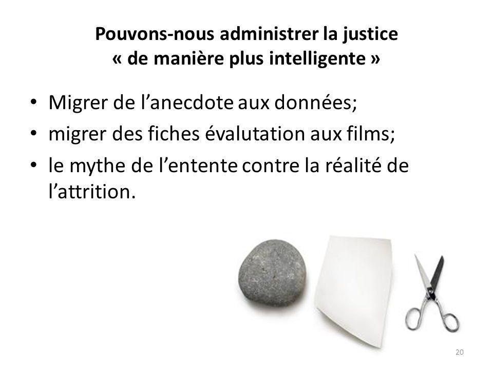 Pouvons-nous administrer la justice « de manière plus intelligente » Migrer de lanecdote aux données; migrer des fiches évalutation aux films; le myth