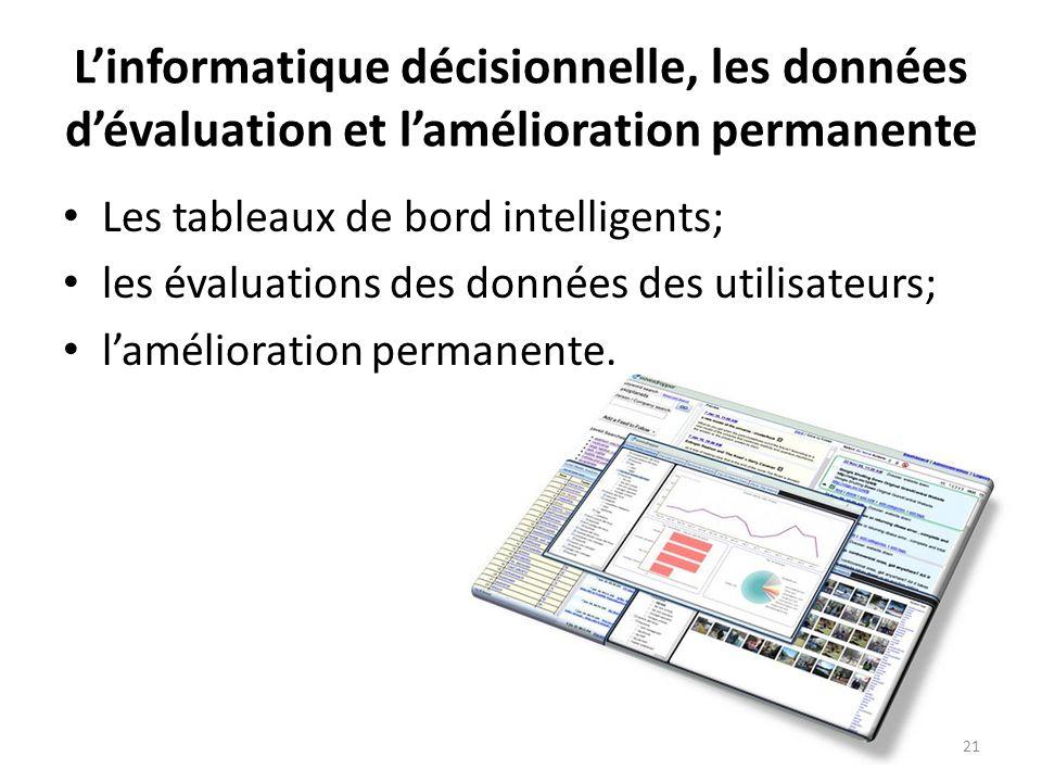 Linformatique décisionnelle, les données dévaluation et lamélioration permanente Les tableaux de bord intelligents; les évaluations des données des ut