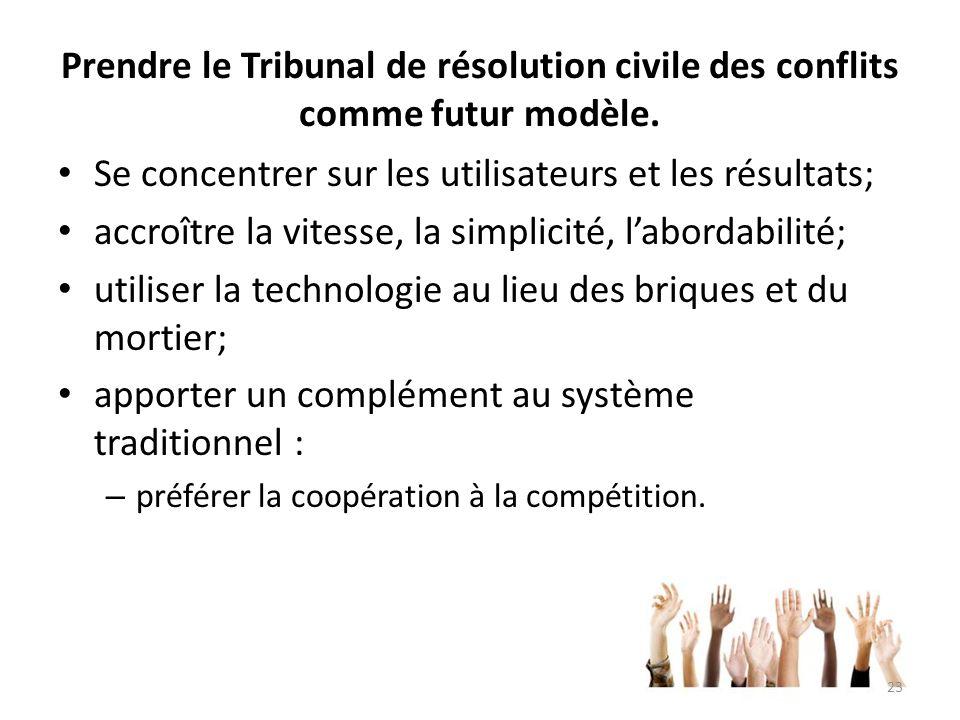 Prendre le Tribunal de résolution civile des conflits comme futur modèle. Se concentrer sur les utilisateurs et les résultats; accroître la vitesse, l