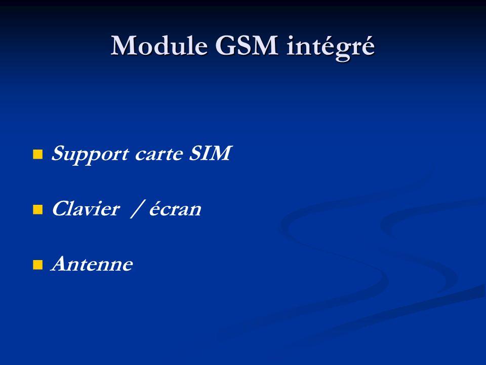 Module GSM intégré Support carte SIM Clavier / écran Antenne