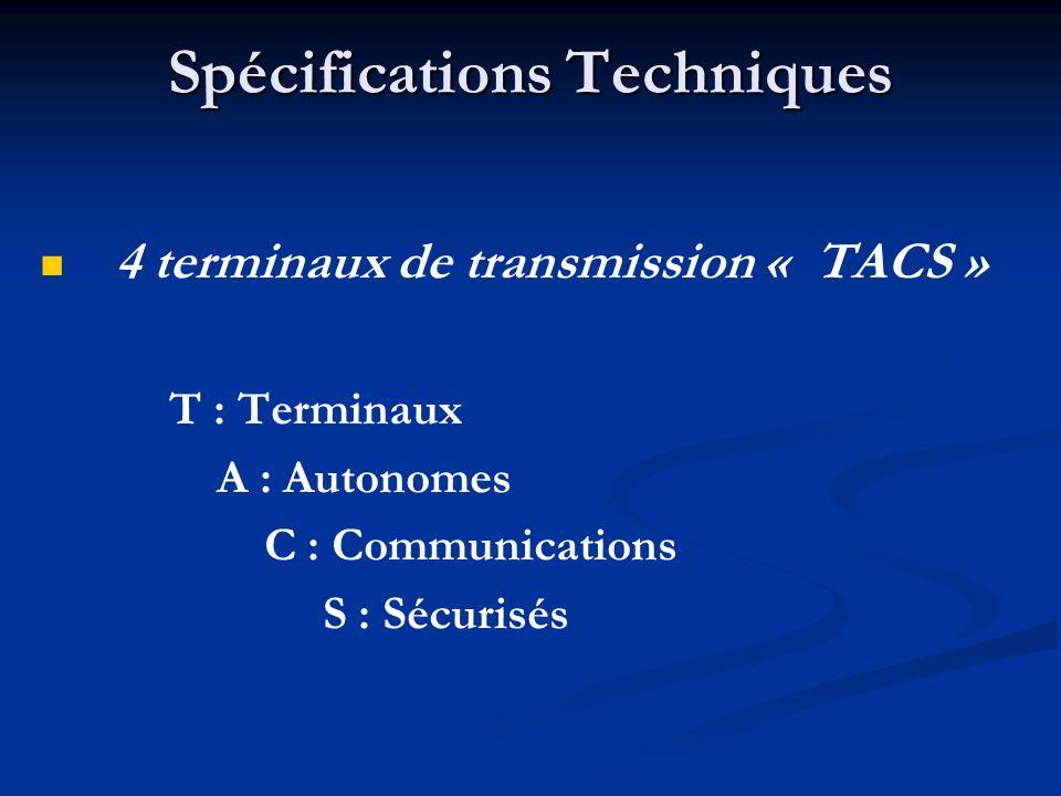 Spécifications Techniques 4 terminaux de transmission « TACS » T : Terminaux A : Autonomes C : Communications S : Sécurisés