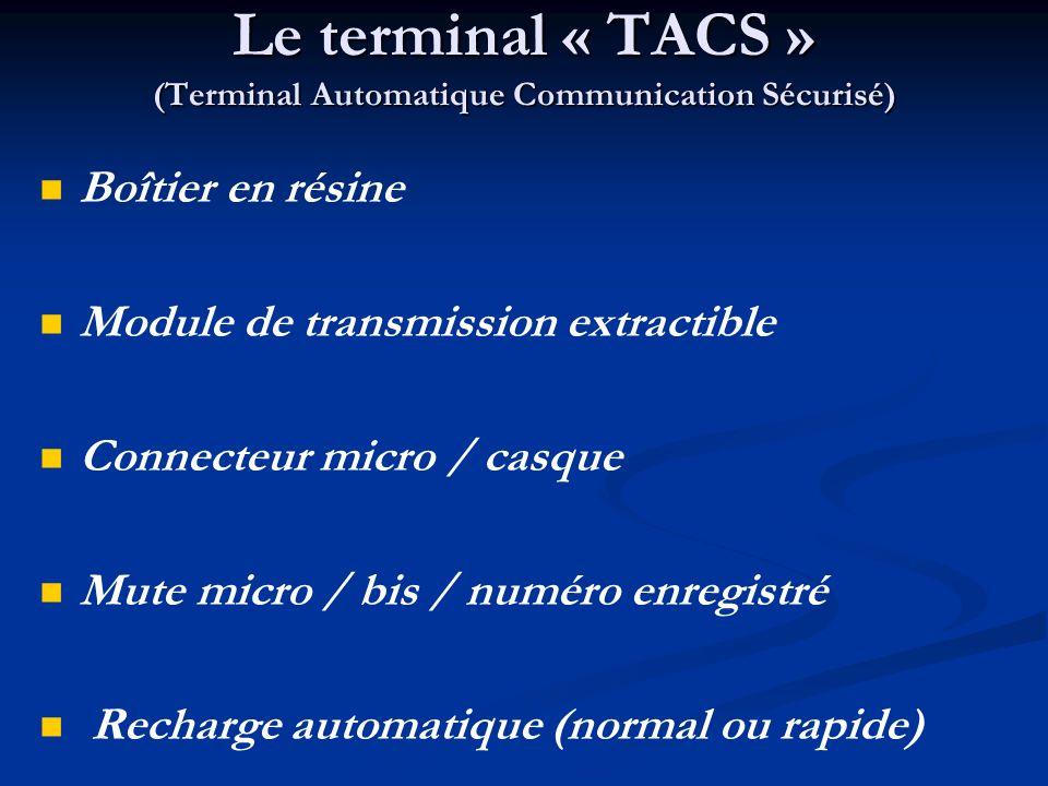 Le terminal « TACS » (Terminal Automatique Communication Sécurisé) Boîtier en résine Module de transmission extractible Connecteur micro / casque Mute micro / bis / numéro enregistré Recharge automatique (normal ou rapide)