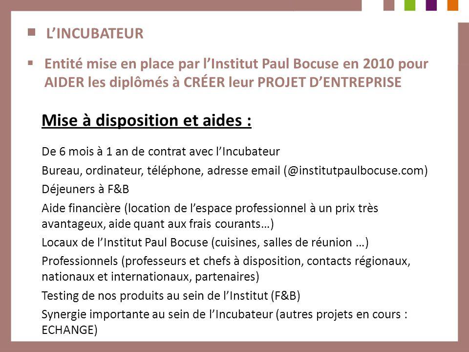 LINCUBATEUR Entité mise en place par lInstitut Paul Bocuse en 2010 pour AIDER les diplômés à CRÉER leur PROJET DENTREPRISE Mise à disposition et aides