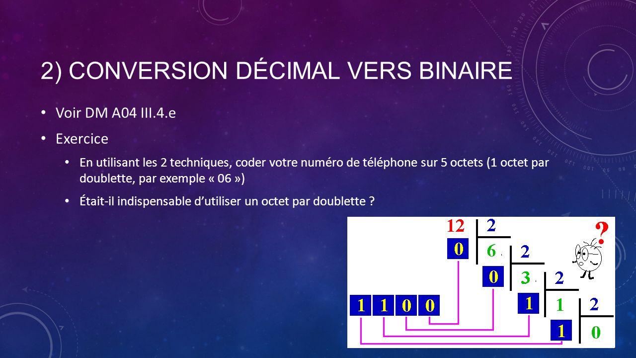 2) CONVERSION DÉCIMAL VERS BINAIRE Voir DM A04 III.4.e Exercice En utilisant les 2 techniques, coder votre numéro de téléphone sur 5 octets (1 octet p