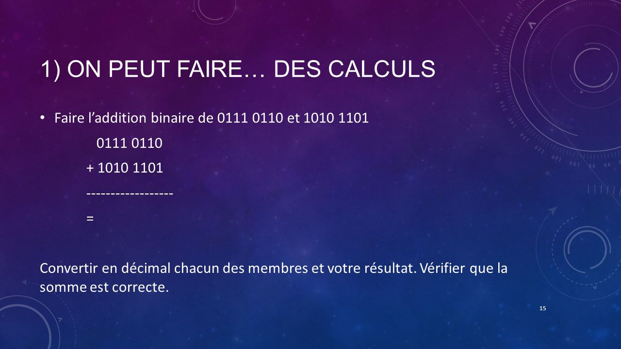 1) ON PEUT FAIRE… DES CALCULS Faire laddition binaire de 0111 0110 et 1010 1101 0111 0110 + 1010 1101 ------------------ = Convertir en décimal chacun