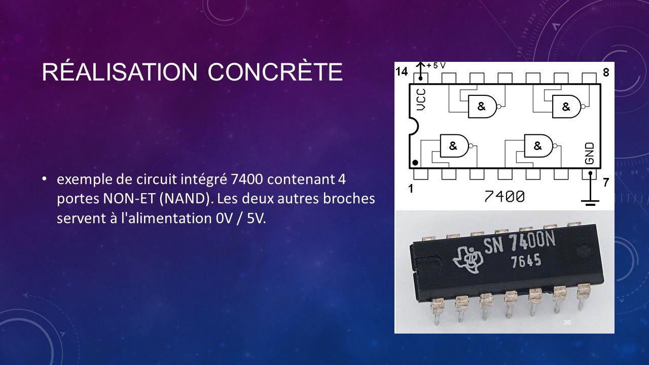 RÉALISATION CONCRÈTE exemple de circuit intégré 7400 contenant 4 portes NON-ET (NAND). Les deux autres broches servent à l'alimentation 0V / 5V. 20