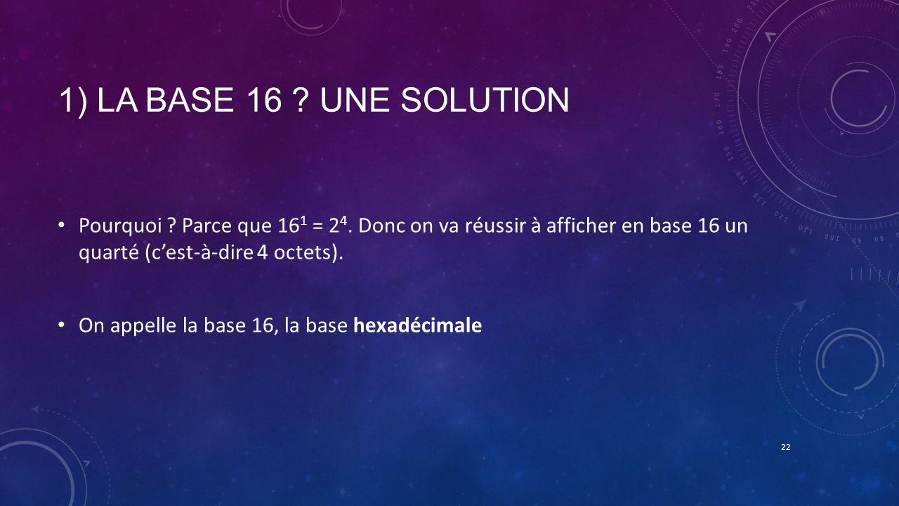1) LA BASE 16 ? UNE SOLUTION Pourquoi ? Parce que 16 1 = 2 4. Donc on va réussir à afficher en base 16 un quarté (cest-à-dire 4 octets). On appelle la