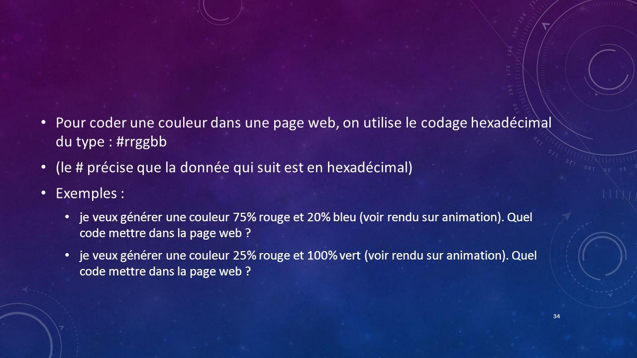 Pour coder une couleur dans une page web, on utilise le codage hexadécimal du type : #rrggbb (le # précise que la donnée qui suit est en hexadécimal)