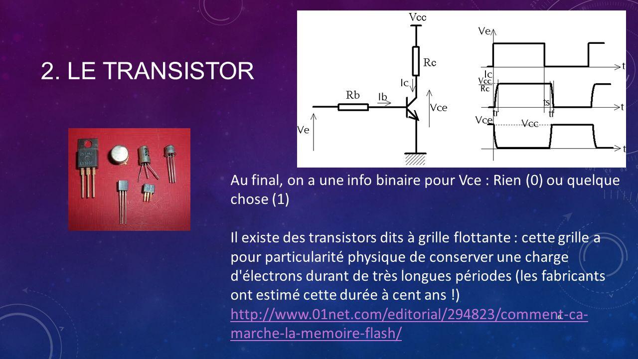 2. LE TRANSISTOR Au final, on a une info binaire pour Vce : Rien (0) ou quelque chose (1) Il existe des transistors dits à grille flottante : cette gr