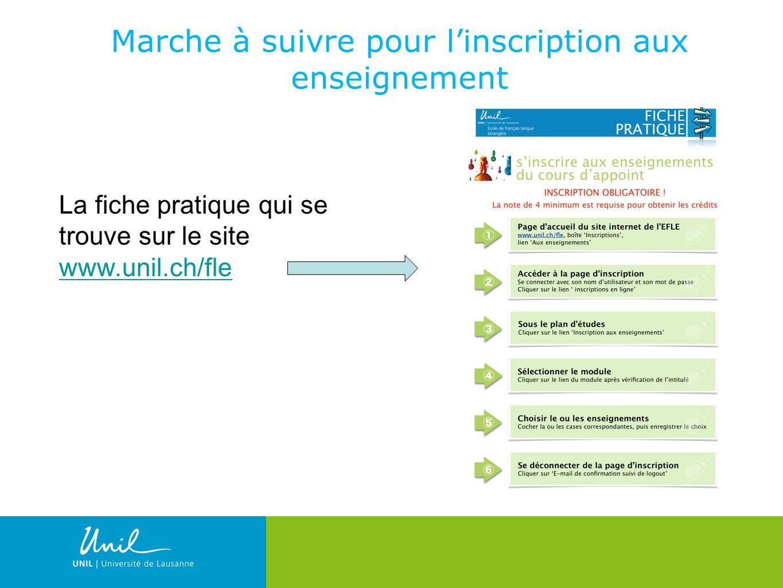 10 Marche à suivre pour linscription aux enseignement La fiche pratique qui se trouve sur le site www.unil.ch/fle www.unil.ch/fle