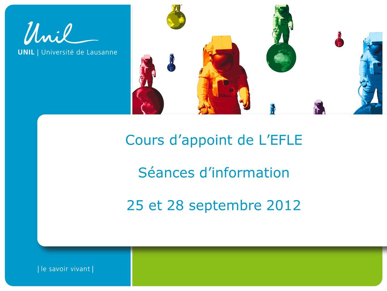 Cours dappoint de LEFLE Séances dinformation 25 et 28 septembre 2012