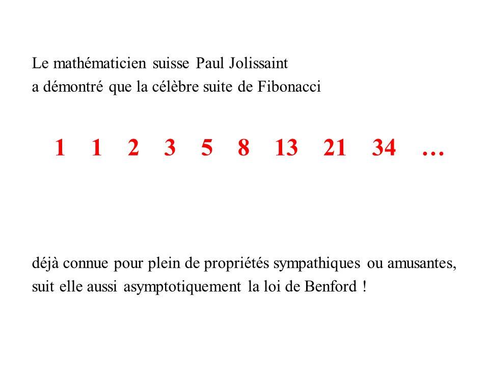 Le mathématicien suisse Paul Jolissaint a démontré que la célèbre suite de Fibonacci 1 1 2 3 5 8 13 21 34 … déjà connue pour plein de propriétés sympathiques ou amusantes, suit elle aussi asymptotiquement la loi de Benford !