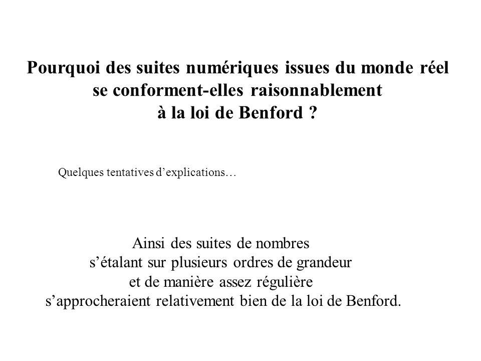 Pourquoi des suites numériques issues du monde réel se conforment-elles raisonnablement à la loi de Benford .