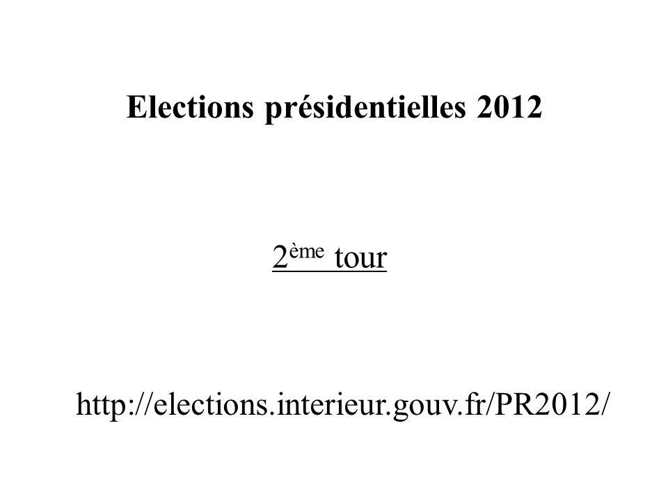 2 ème tour Elections présidentielles 2012 http://elections.interieur.gouv.fr/PR2012/