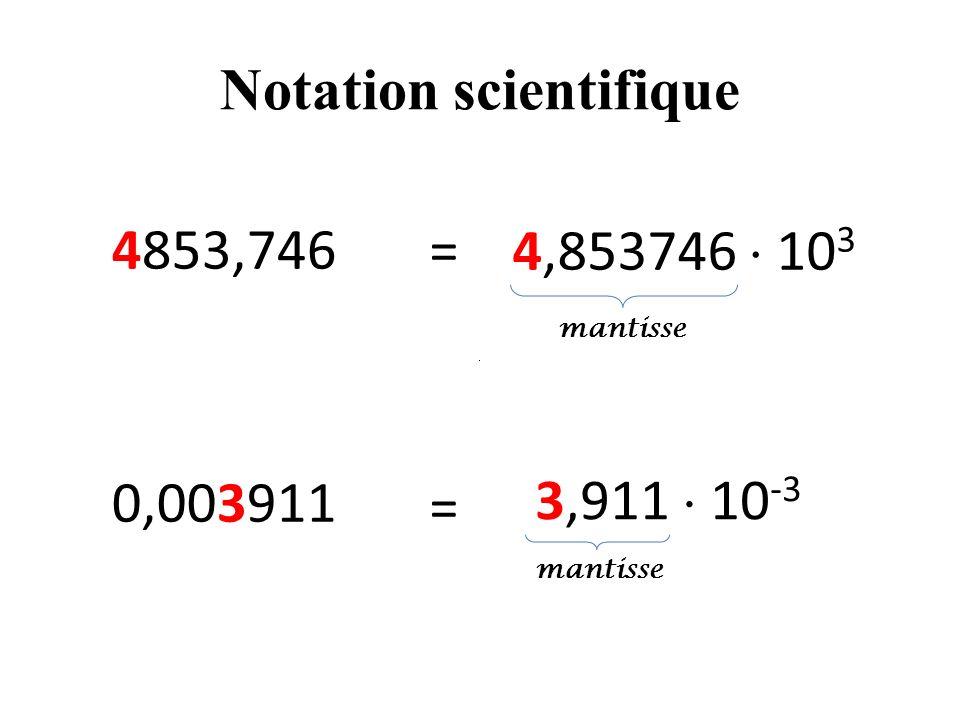 Notation scientifique 4853,746 0,003911 4,853746 10 3 3,911 10 -3 = = mantisse