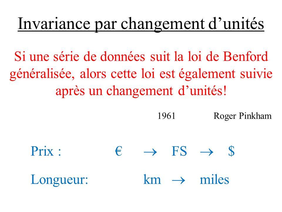 Invariance par changement dunités Si une série de données suit la loi de Benford généralisée, alors cette loi est également suivie après un changement dunités.