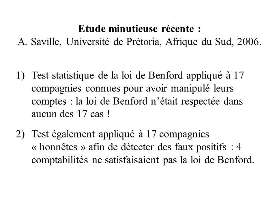 Etude minutieuse récente : A. Saville, Université de Prétoria, Afrique du Sud, 2006. 1)Test statistique de la loi de Benford appliqué à 17 compagnies