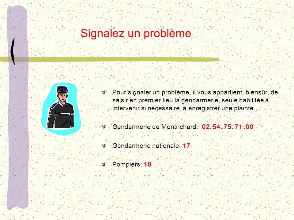 Pour signaler un problème, il vous appartient, biensûr, de saisir en premier lieu la gendarmerie, seule habilitée à intervenir si nécessaire, à enregi