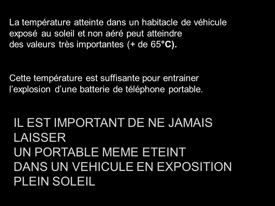 La température atteinte dans un habitacle de véhicule exposé au soleil et non aéré peut atteindre des valeurs très importantes (+ de 65°C). Cette temp