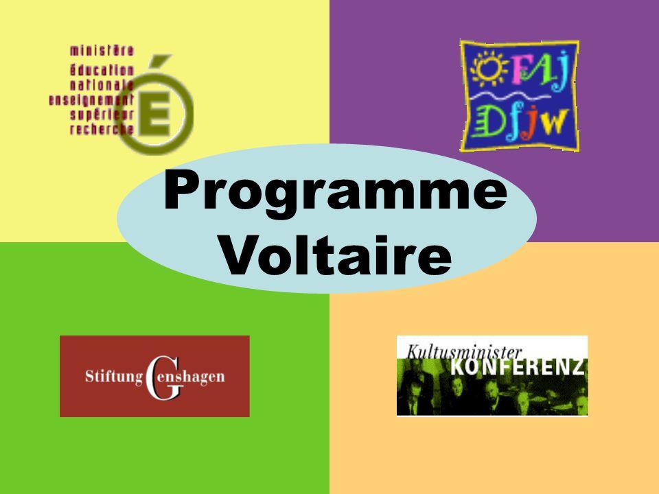 Programme crée en 1998, à loccasion du sommet franco-allemand de Potsdam Adopté par les gouvernements français et allemand Lorganisation et le financement du programme Voltaire sont confiés à lOffice Franco-allemand pour la jeunesse (OFAJ) Historique