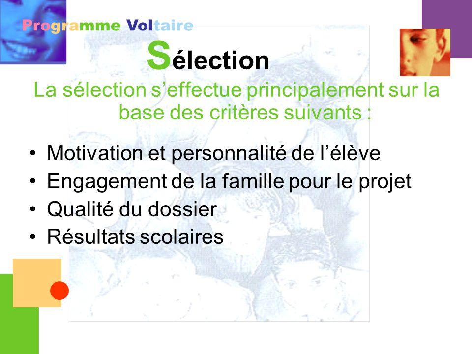 Programme Voltaire S élection La sélection seffectue principalement sur la base des critères suivants : Motivation et personnalité de lélève Engagemen