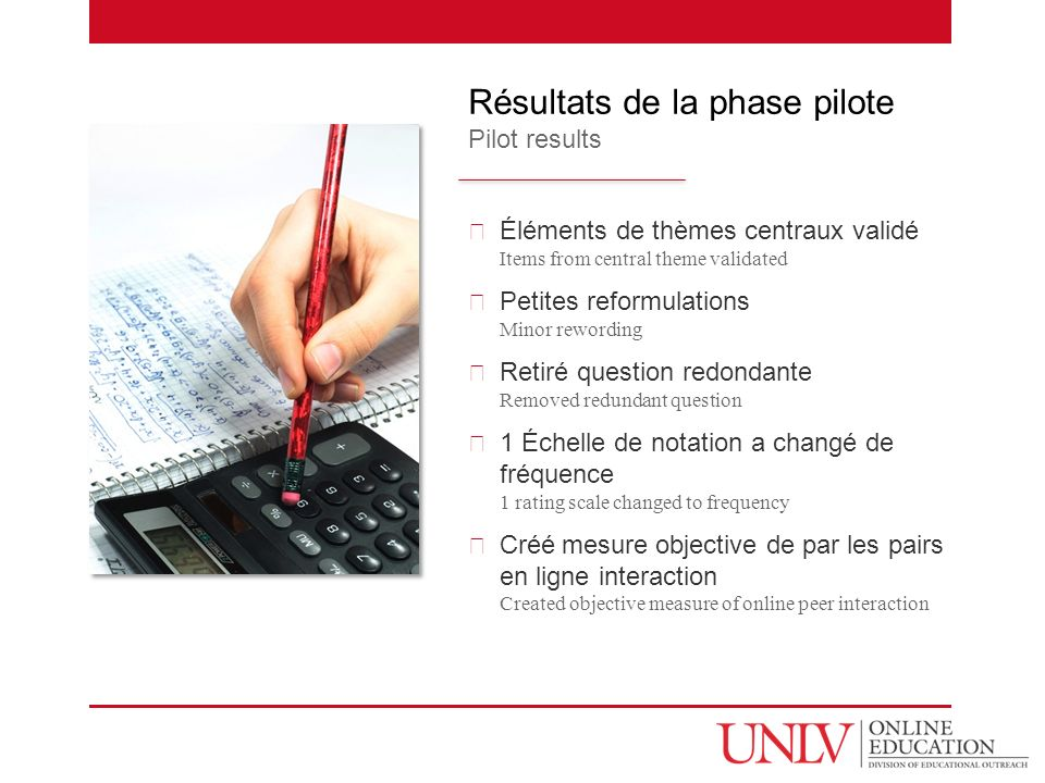Éléments de thèmes centraux validé Items from central theme validated Petites reformulations Minor rewording Retiré question redondante Removed redundant question 1 Échelle de notation a changé de fréquence 1 rating scale changed to frequency Créé mesure objective de par les pairs en ligne interaction Created objective measure of online peer interaction Résultats de la phase pilote Pilot results