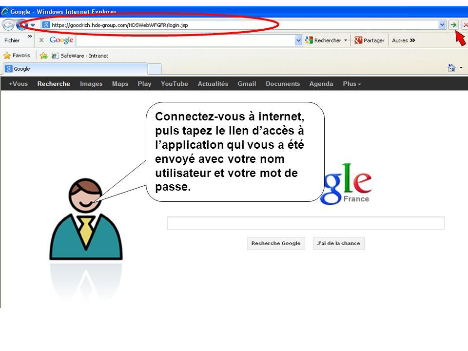 Connectez-vous à internet, puis tapez le lien daccès à lapplication qui vous a été envoyé avec votre nom utilisateur et votre mot de passe.