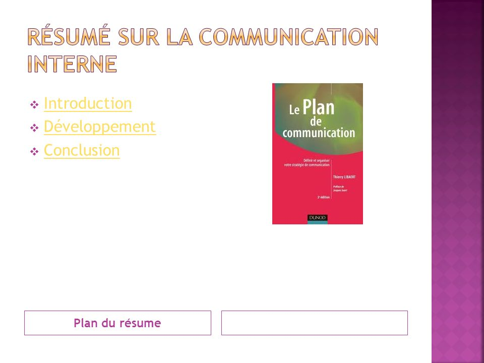 Plan du résume Introduction Développement Conclusion