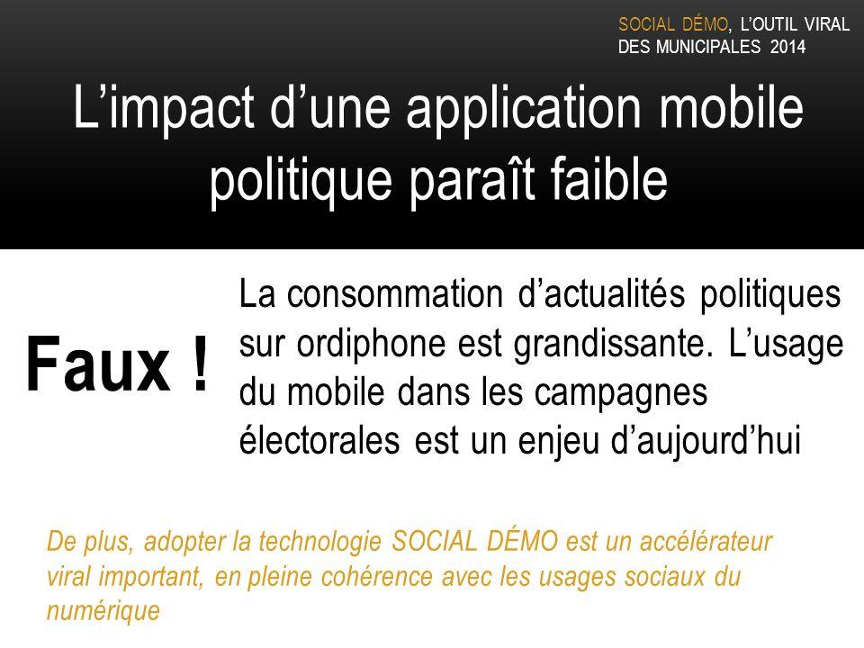 SOCIAL DÉMO, LOUTIL VIRAL DES MUNICIPALES 2014 Limpact dune application mobile politique paraît faible La consommation dactualités politiques sur ordiphone est grandissante.